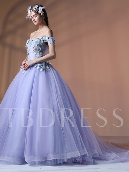Ball Gown Lace Off-the-Shoulder Flowers Court Train Quinceanera Dress