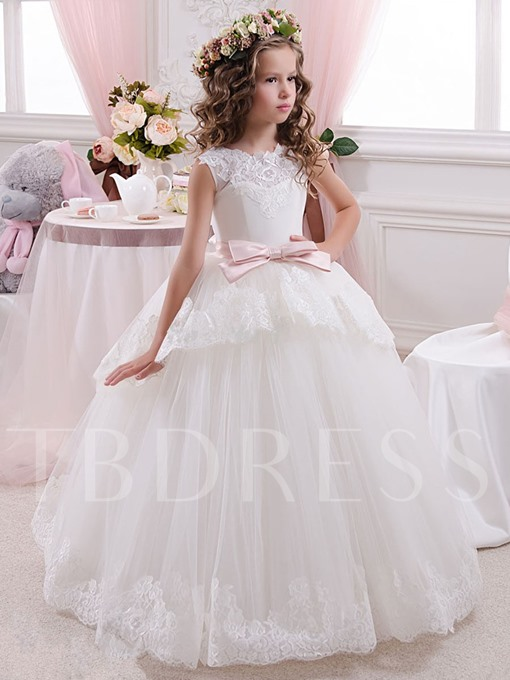Tulle Lace Tutu Ball Gown Long Flower Girl Dresses