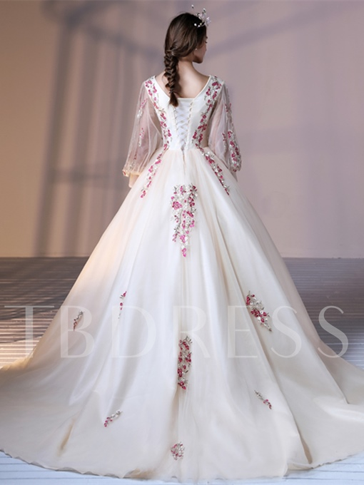 Ball Gown Lace-Up V-Neck Appliques Court Train Quinceanera Dress