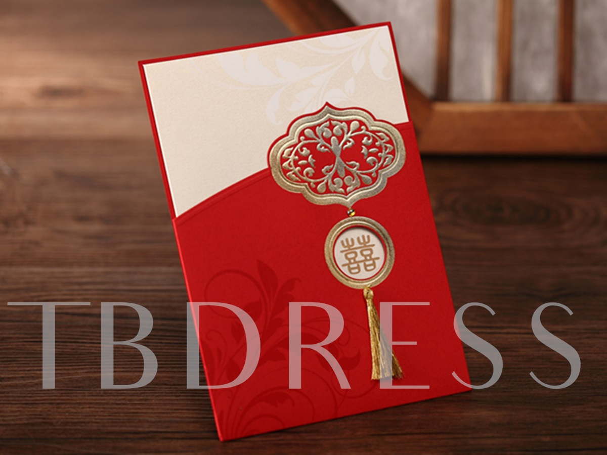 Asian Style Wrap & Pocket Invitation Cards With Tassels (20 Pieces One Set)