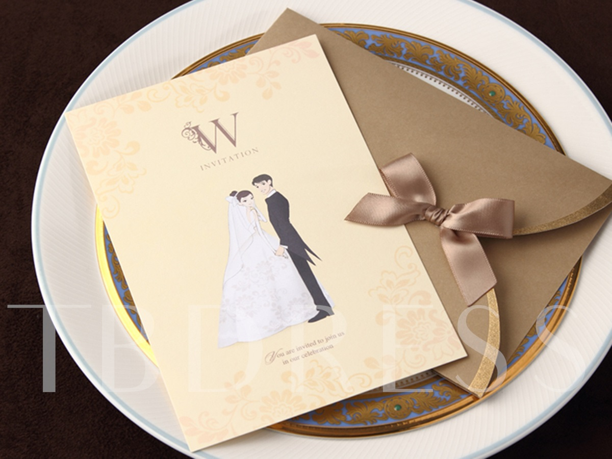 Pearl Paper Invitation Cards With Bow (20 Pieces One Set)