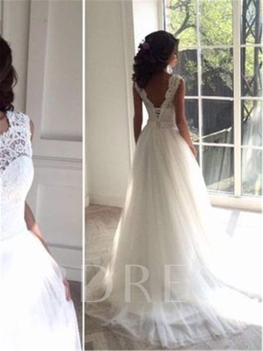 Lace Top Lace-Up Beach Wedding Dress