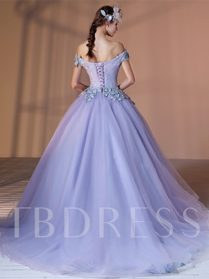 Off-the-Shoulder 3D Flowers Lace Lavender Quinceanera Dress