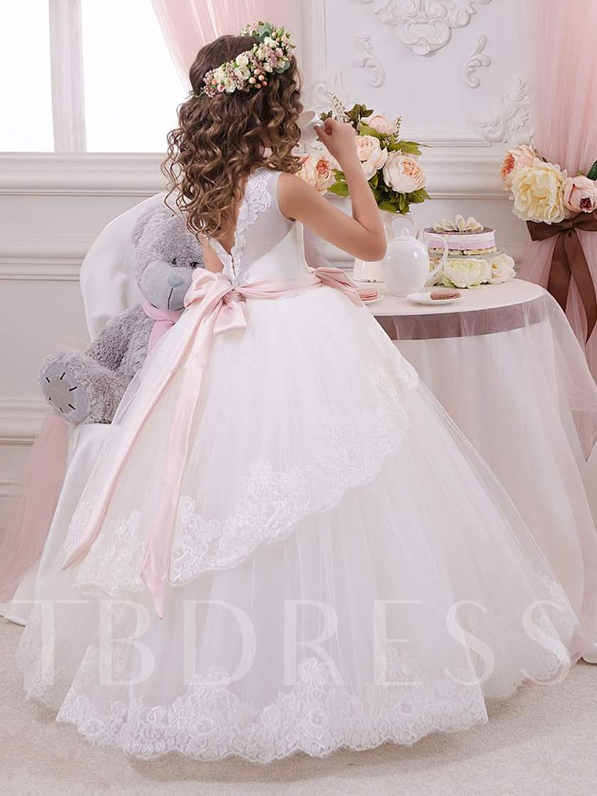 Bowknot Sashes Appliques Ball Gown Flower Girl Dress