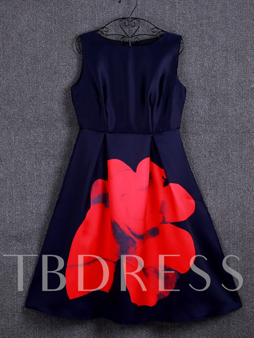 Dark Blue Print Sleeveless Women's Day Dress