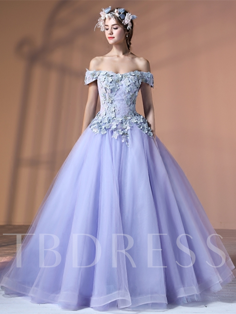 e9fe94d9bfe Ball Gown Lace Off-the-Shoulder Flowers Quinceanera Dress - Tbdress.com