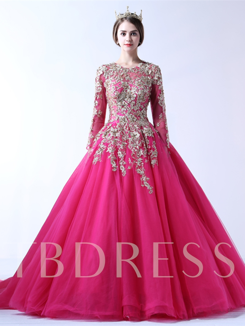 Ball Gown Appliques Jewel Court Train Long Sleeves Quinceanera Dress ...