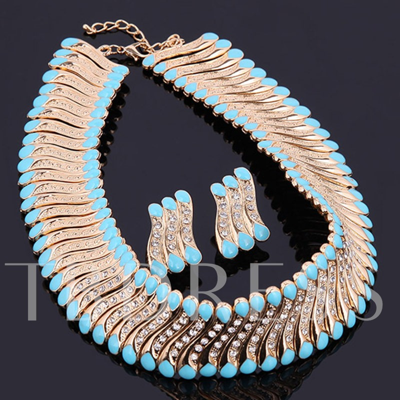 Blue Acrylic Design S-Shaped Beading Jewelry Set