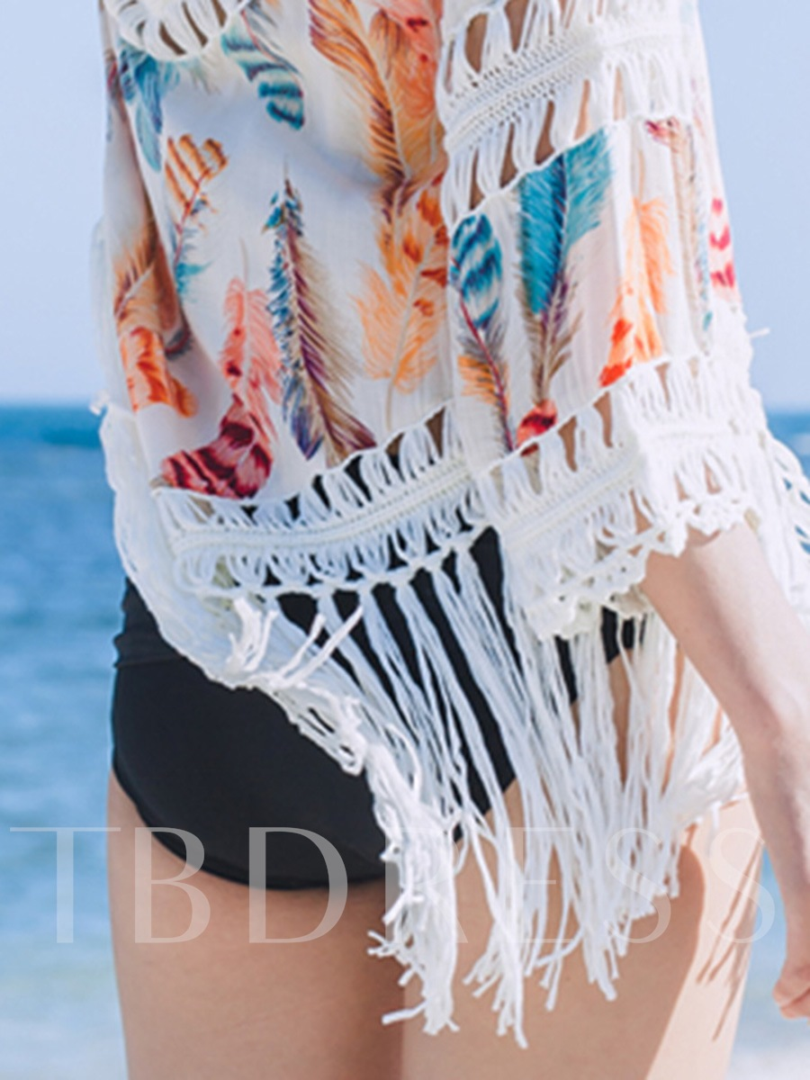 Beautiful Tassel Hollow Print Cover-Up
