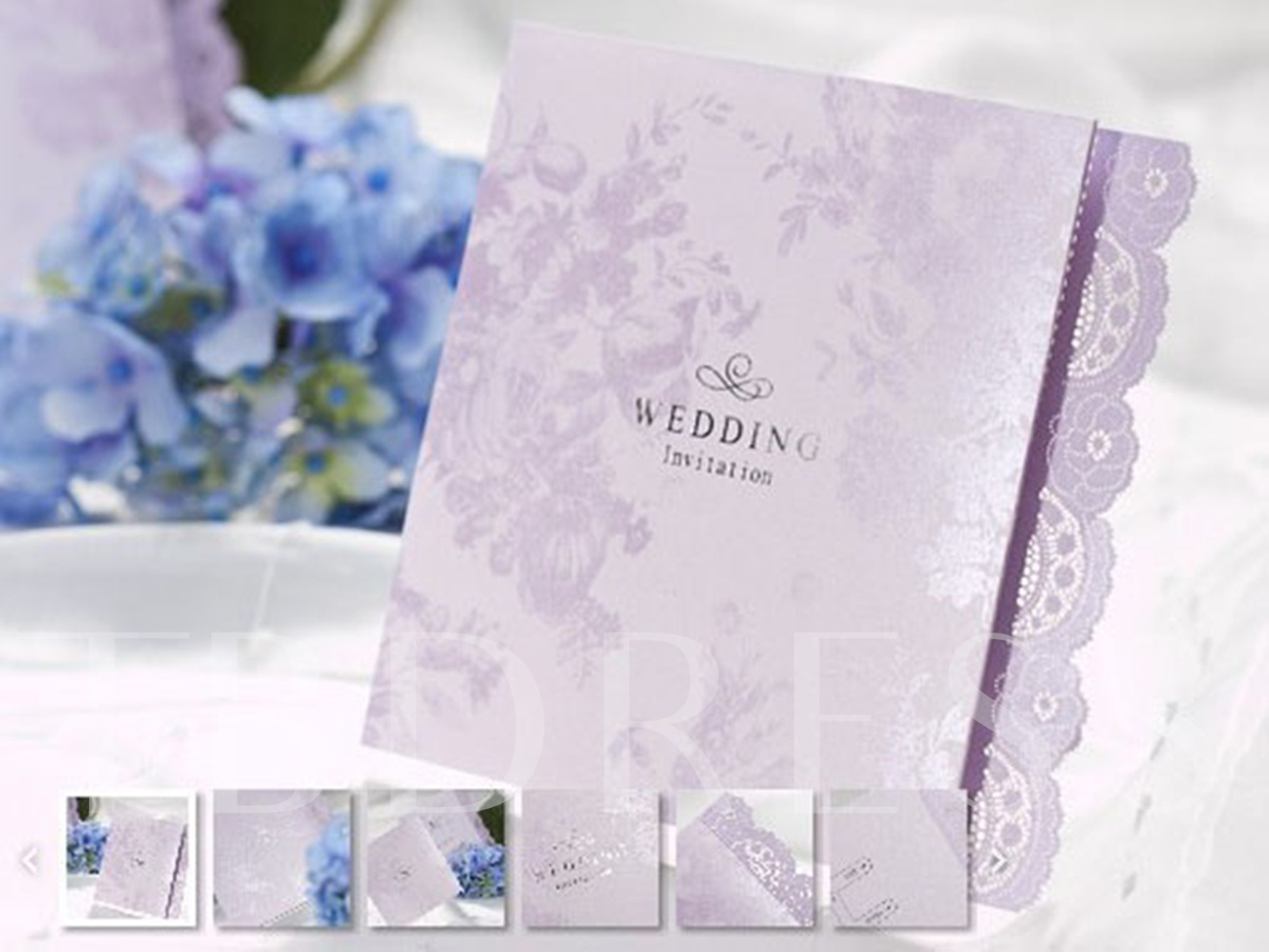 Floral Style Z-Fold Invitation Cards (20 Pieces One Set)