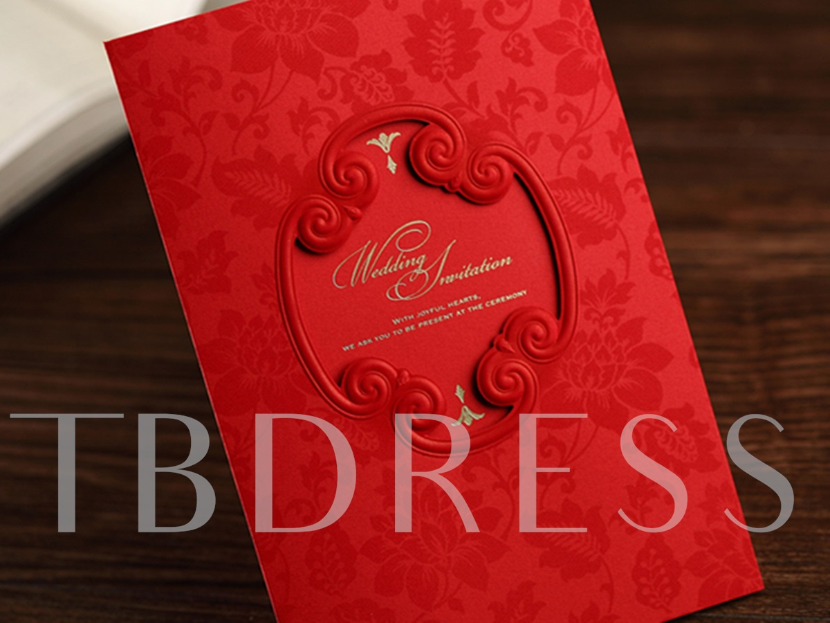 Red Floral Style Side Fold Invitation Cards (20 Pieces One Set)