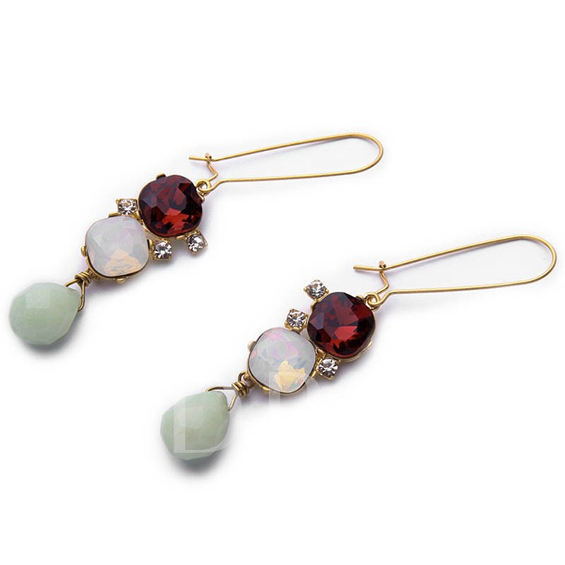 Natural Stone & Imitation Gems Design Earrings