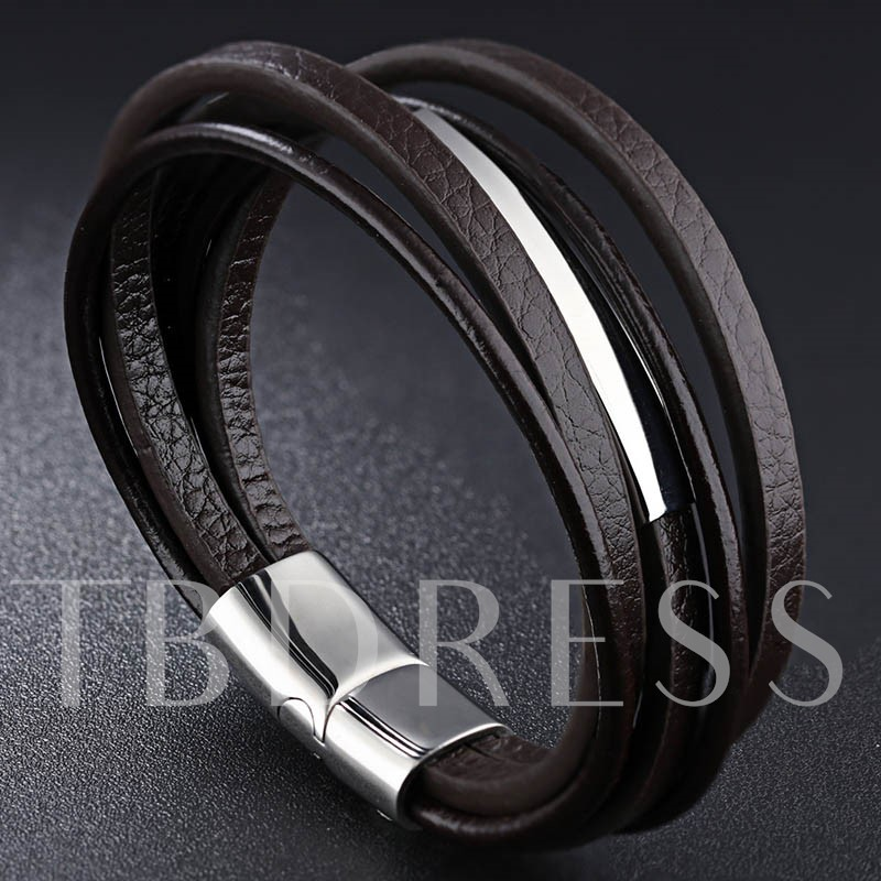 Suction Button Design Multilayer Artificial Leather Men's Bracelet