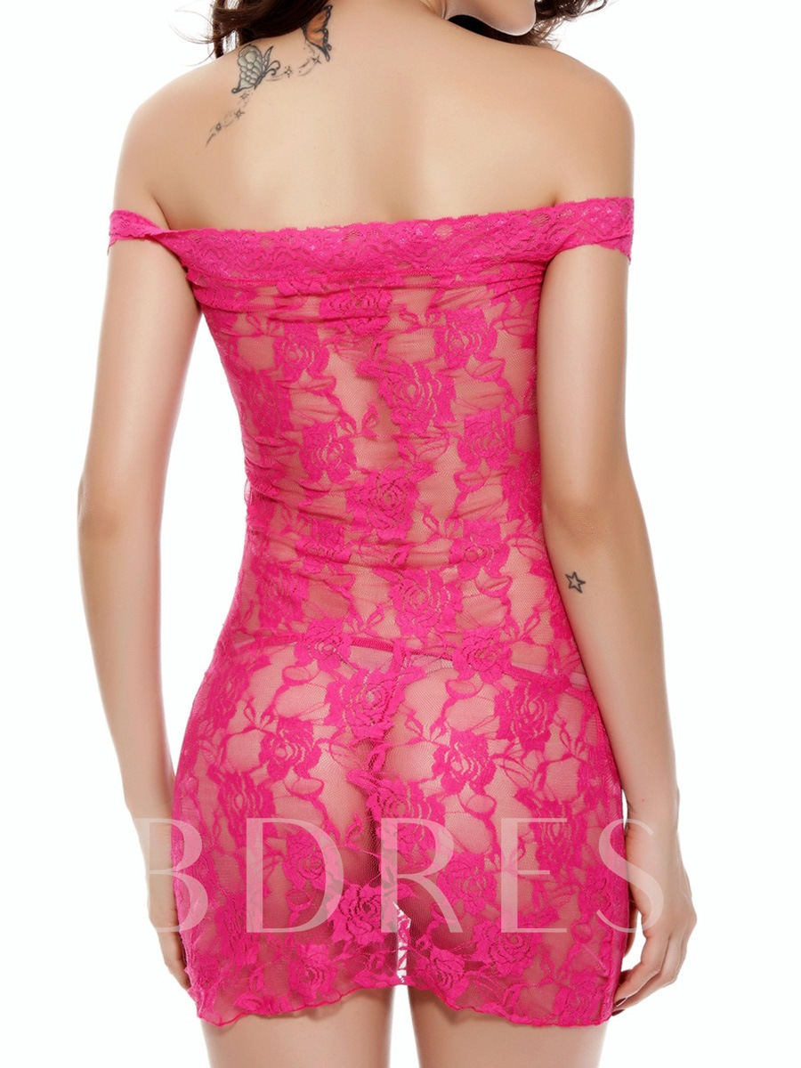 Sexy Flower Cut-Out Plain Lace Babydoll