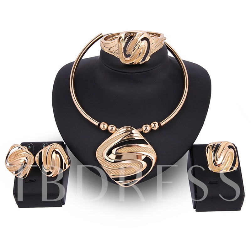 Gold Square Design Four-Pieces Jewelry Set