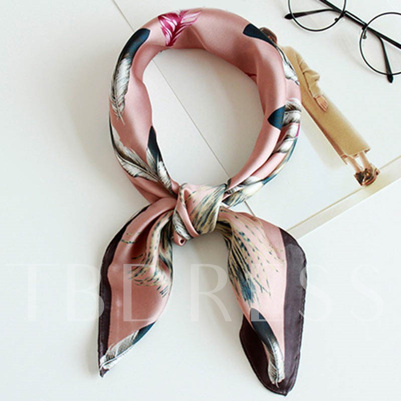 Peacock Feather Printed Graceful Square Scarf
