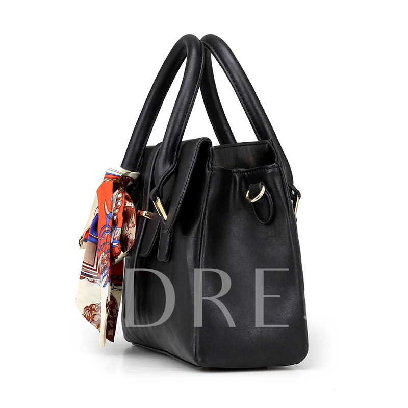 Plain Flap Pocket Tie Decorated Soft PU Tote Bag