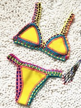 Fashionable Knitting Color Block Bikini Set