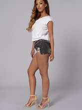 Low-Waist Worn Holes Pocket Skinny Denim Women's Shorts