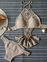 Unique Knitting Hollow Fringed Bikini Set