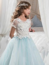 Short Sleeve Lace Butterfly Flower Girl Dress