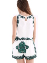 Round Neck Floral Print Sleeveless Women's Two Piece Set
