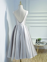 A-Line Backless Scoop Appliques Tea-Length Prom Dress
