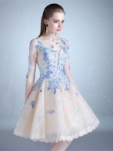 Scoop A-Line Half Sleeves Beading Lace Knee-Length Prom Dress