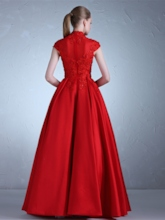 High Neck Appliques Cap Sleeves Red Evening Dress