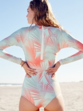 Plant Print Zipper Long Sleeve One-Piece Swimsuit