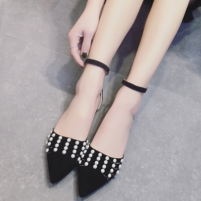 Black Pink Pointed Beads Ankle Strap Women's Flats