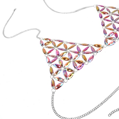 Acrylic Colorful Gemstones Design Sexy Chest Chain