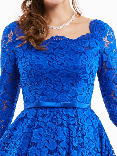 Square Neck Long Sleeves Lace Cocktail Dress