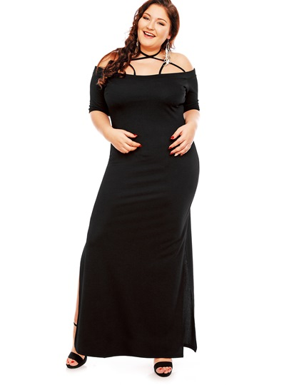 Plus Size Slash Neck Halter Plain Women's Maxi Dress