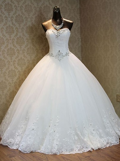 Strapless Beading Lace Ball Gown Wedding Dress Strapless Beading Lace Ball Gown Wedding Dress