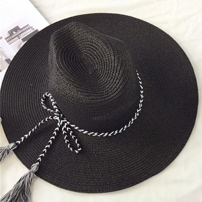 Black Bowknot with Tassels Leisure Sunhat