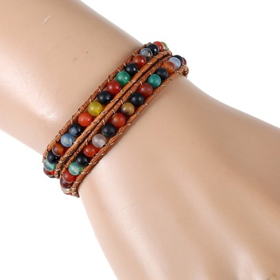 Artificial Leather Rope Pellets DIY Handmade Beaded Bracelet
