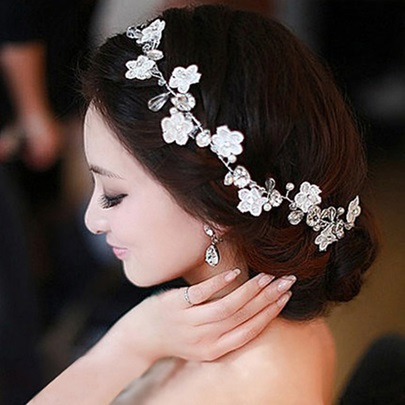 Lace Flower Pearl Headwear for Bride