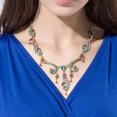 Musical Note Design with Colorful Rhinestone Necklace