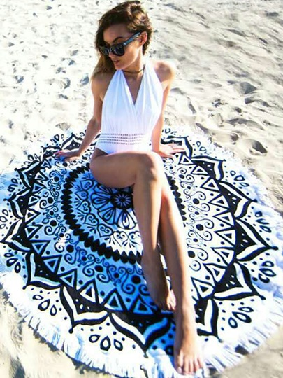 Unique Print Round Fringed Beach Throw