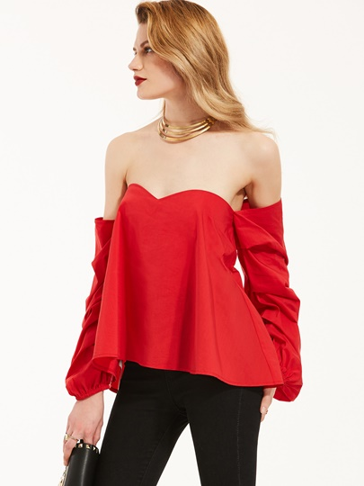 Plain Back Zipper Billow Sleeve Women's Blouse