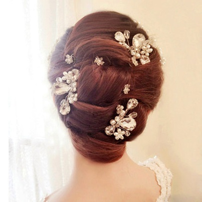 White Rhinestone Bridal Hair Comb