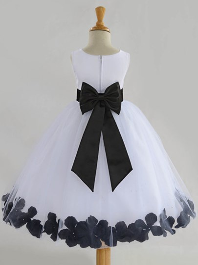 Jewel Neck Satin Bowknot Ribbon Flower Girl`s Party Dress