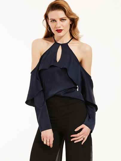 Ruched Cold Shoulder Women's Blouse