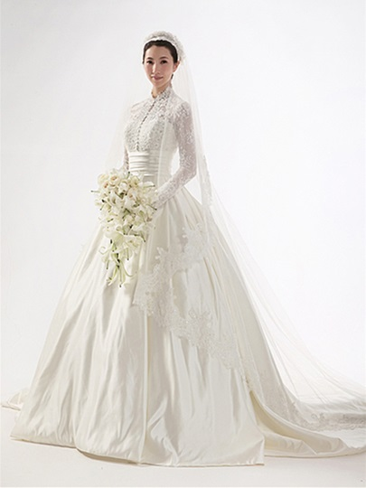 Vintage High Neck Lace Long Sleeve Wedding Dress