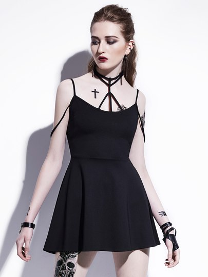 Black Cross Body Women's Sexy Dress