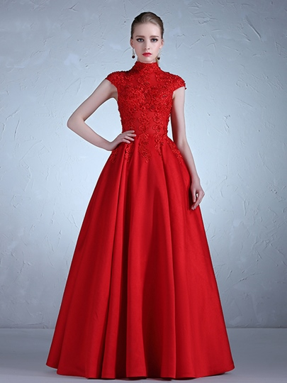 High Neck Appliques Beading A-Line Cap Sleeves Evening Dress