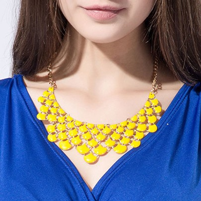 Yellow Resin Design Bohemian Zinc Alloy Necklace