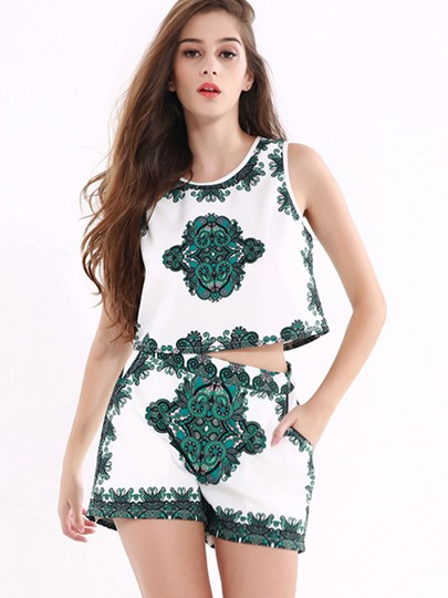 Round Neck Floral Print Sleeveless Women's Shorts Suit