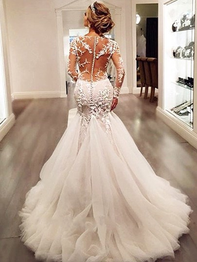 Appliques Mermaid Wedding Dress with Long Sleeve